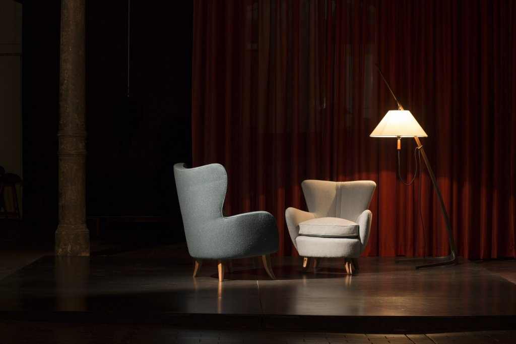 Lowback & Hiback Armchair by Ernst Schwadron, Fabric: Blans by Hanne Vedel, Spindegarden