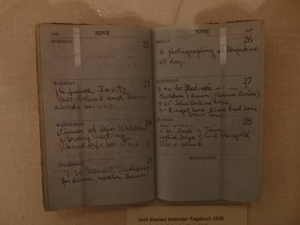 Stefi Kiesler's Notebook: K. photographing at Mergentime, 26. Juni 1936