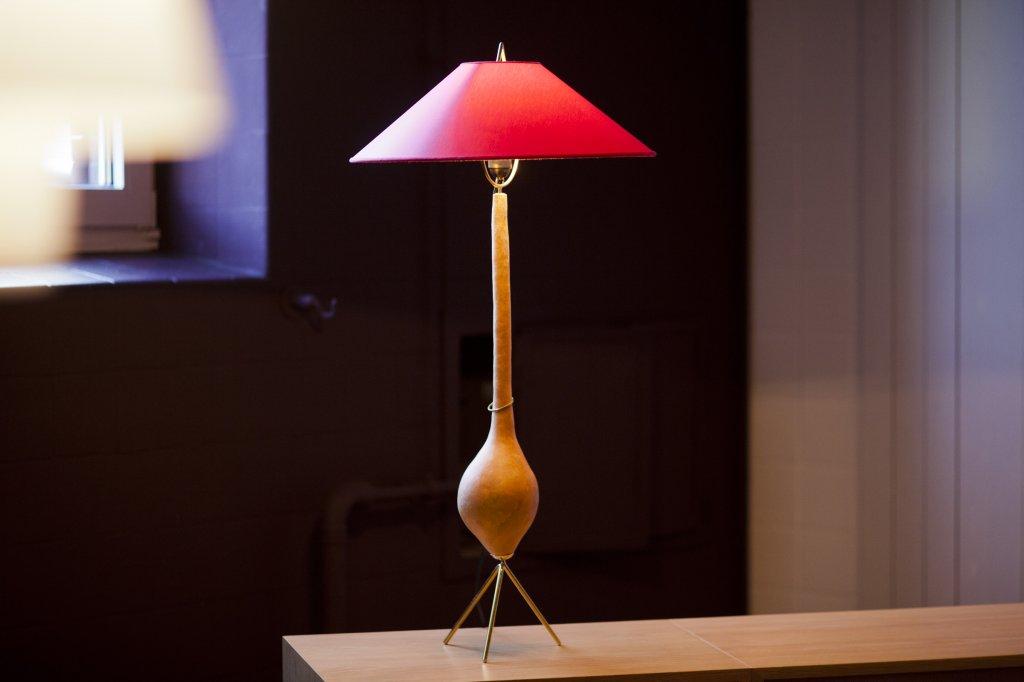 Gourdlamp 7254, Calabash, Brass, Chintz