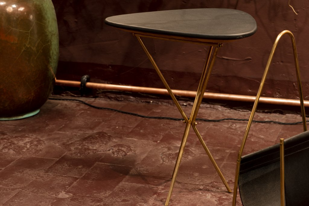 Folding Table 3642, Oak, Leather: goat, Brass