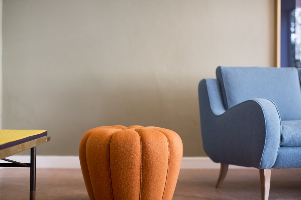 Kaktus Pouf, 1930 + Sofa Dreamlake by Ernst Schwadron, 1956