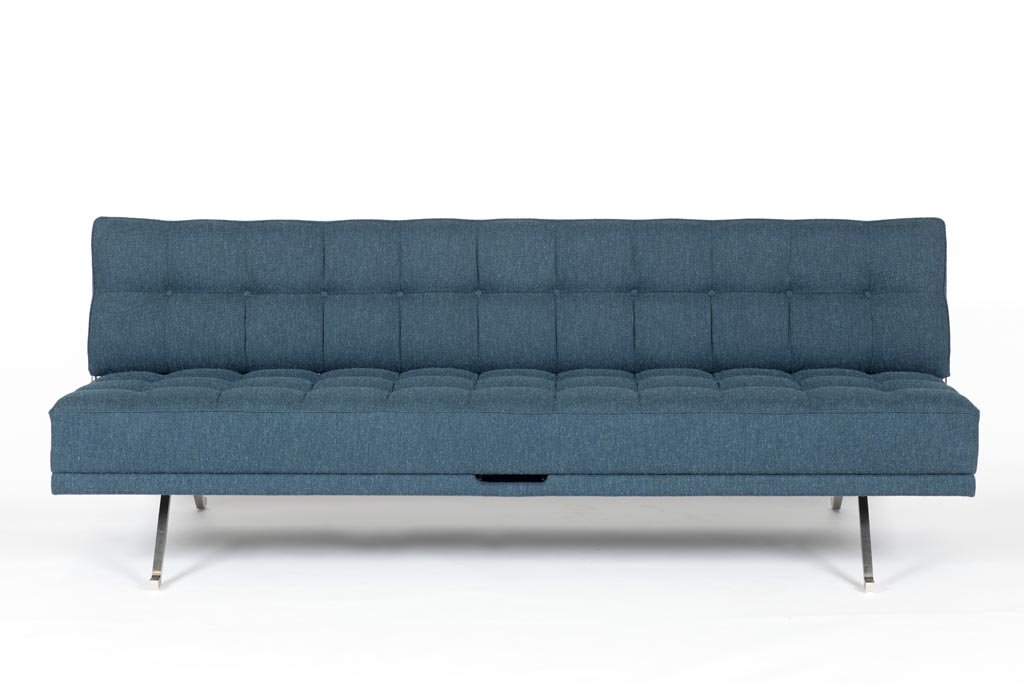 Constanze Bedsofa, 1961 by Johannes Spalt, Edition: Wittmann, stainless steel, fabric by Hanne Vedel, No. 1