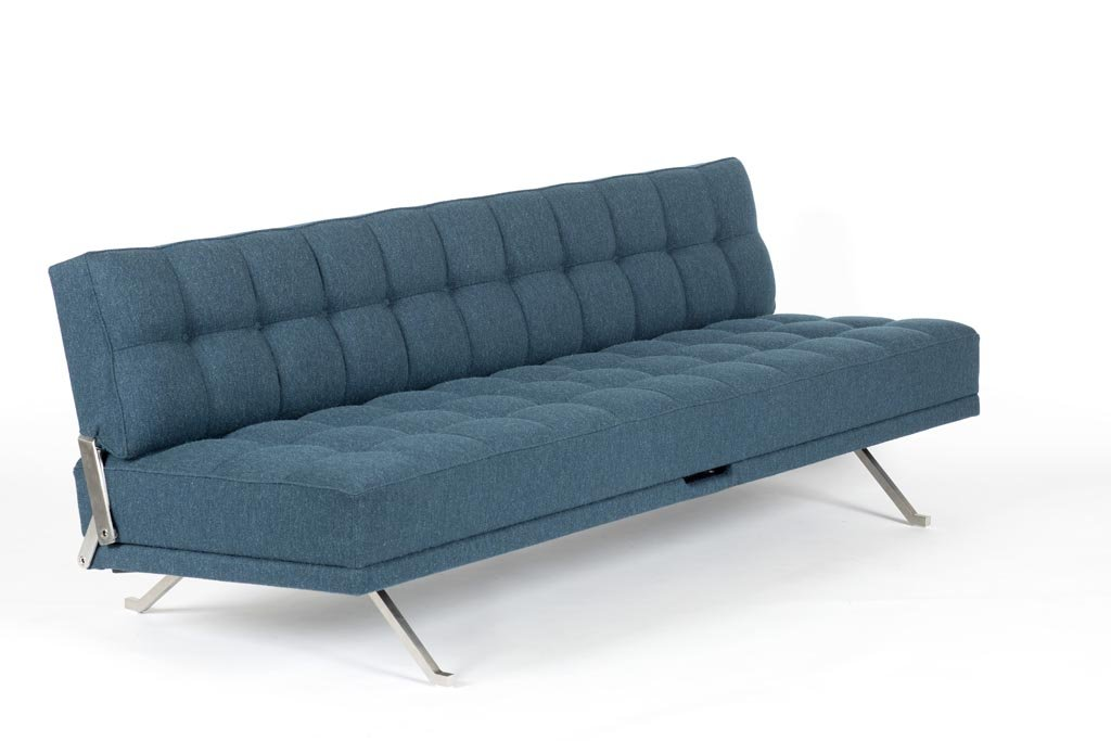 Constanze Bedsofa, 1961 by Johannes Spalt, Edition: Wittmann, stainless steel, fabric by Hanne Vedel, No. 2