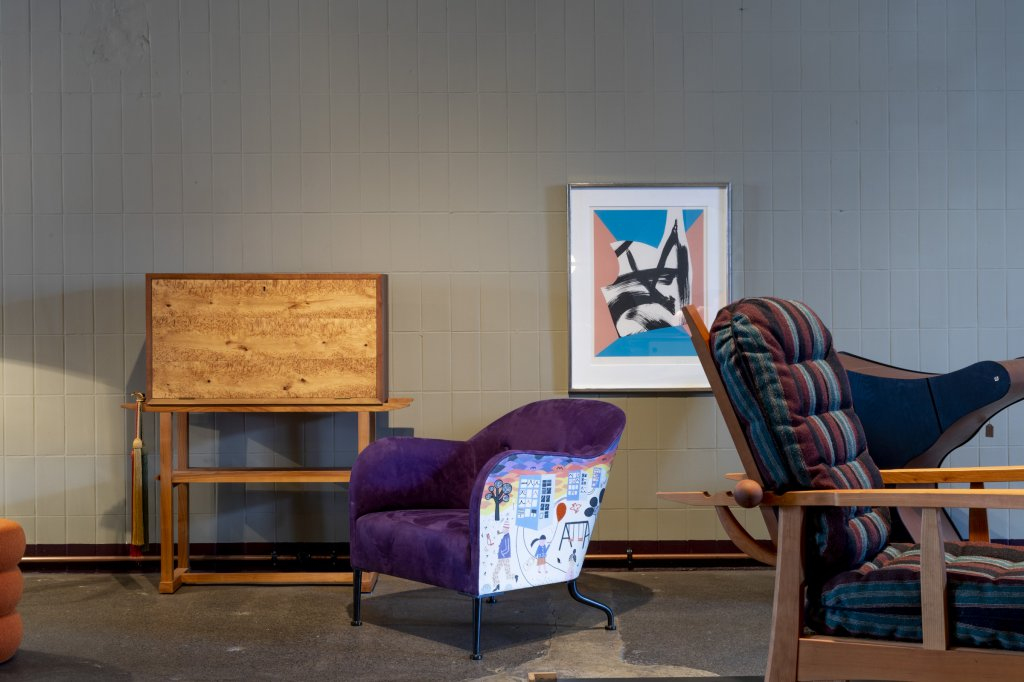 """Koko & Bosse, 2017, unique armchair, application technique and embroidery artwork by children book author Lissen Adbage from her book """"Koko & Bosse, I don't want to"""", designed and produced by Mats Theselius"""