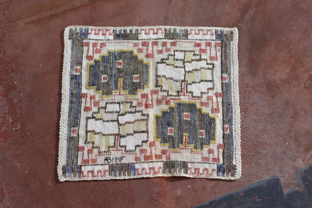 """Flat Weave """"Grodblad Blä"""", 38,5 x 42,5 cm, signed AB MMF, designed in 1933, woven after 1941"""
