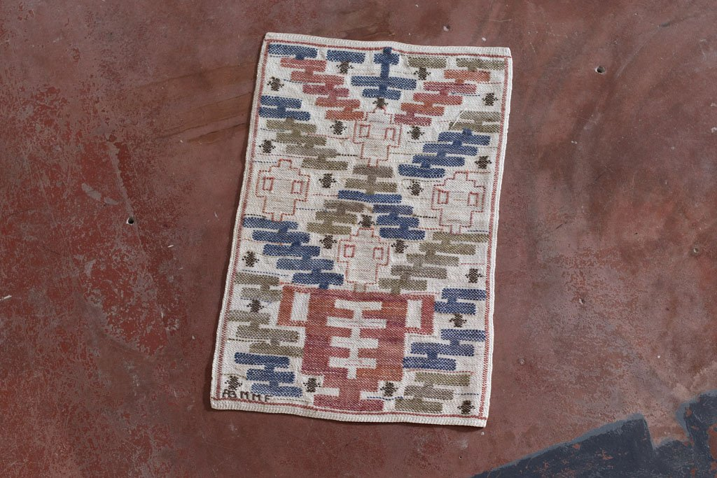 """Flat Weave """"Liljekrukan"""", 55 x 36cm, signed AB MMF, designed in 1930, woven after 1941"""